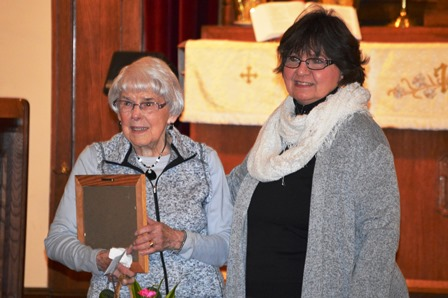 Longtime member Vinetta Davis (left) receives a Distinguished Service Award during the worship service Jan. 17, 2016 for 64 years of dedicated service to St. Peters. Also pictured is lay speaker/pastor Michele Huey.
